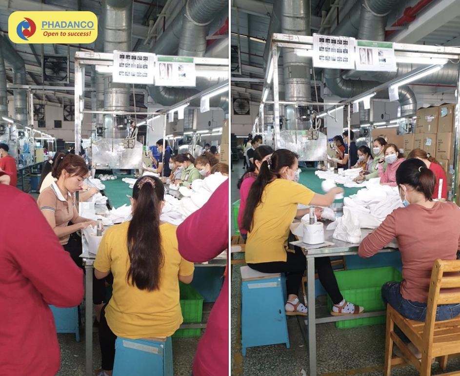 Lao động thời vụ của Công ty Phan Đang đang làm việc tại nhà máy Pouyuen Việt Nam